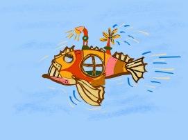 CSK book illustrations - steampunk submarine