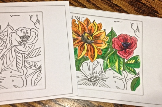 Flower coloring card